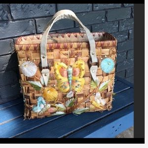 VTG Wicker Beach Bag Insect Details Vegan leather